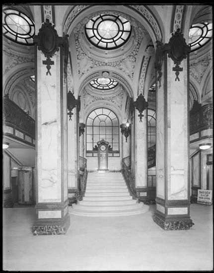 New York City, 149 Broadway. Interior of the Singer Building, hallway looking at stairs.