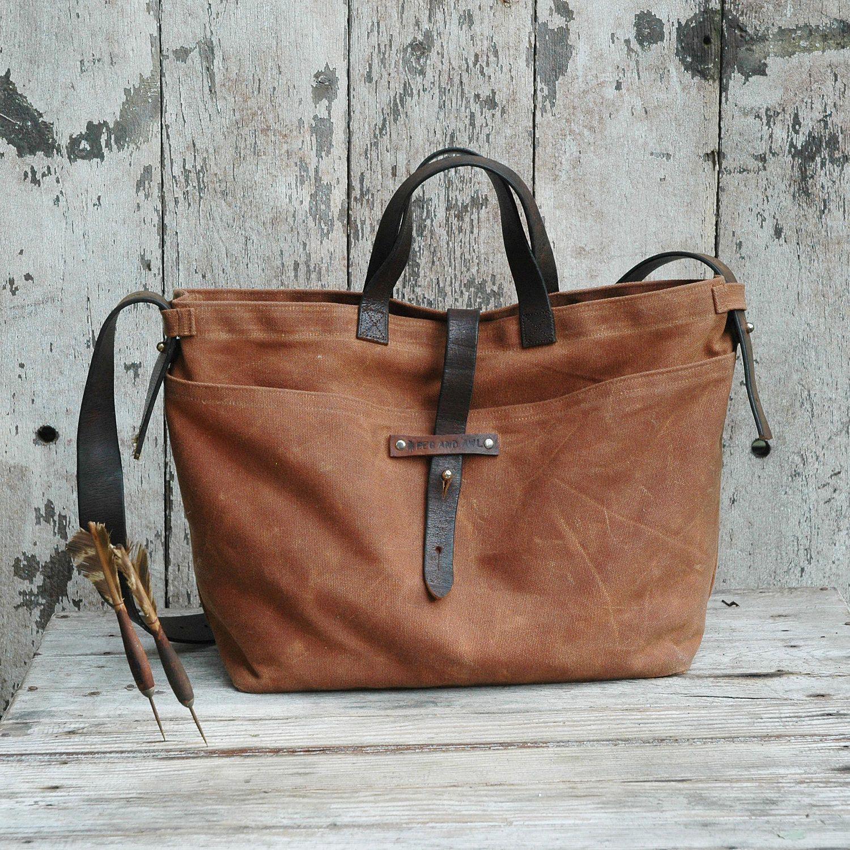 Waxed Canvas Tote E Antique Military Leather Fabric Pocket 230 00 Via Etsy