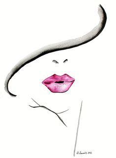 Photo of Mode illustratie afdrukken door Helen Simms getiteld The Lipstick raadsel, van eenvoudige aquarel, stijlvolle, unieke gift voor haar