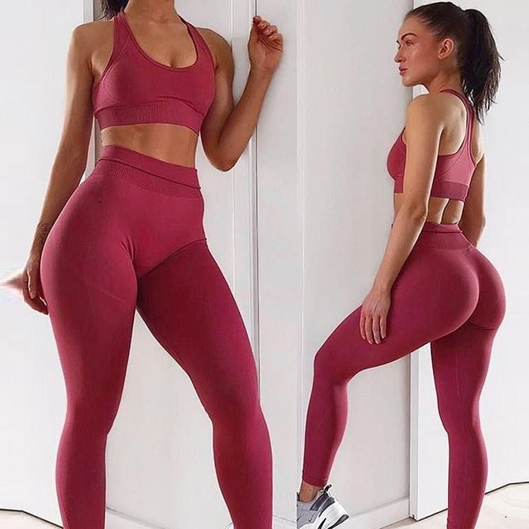 New Seamless Yoga Set Women Sportwear Gym Leggings Sports Bra Set