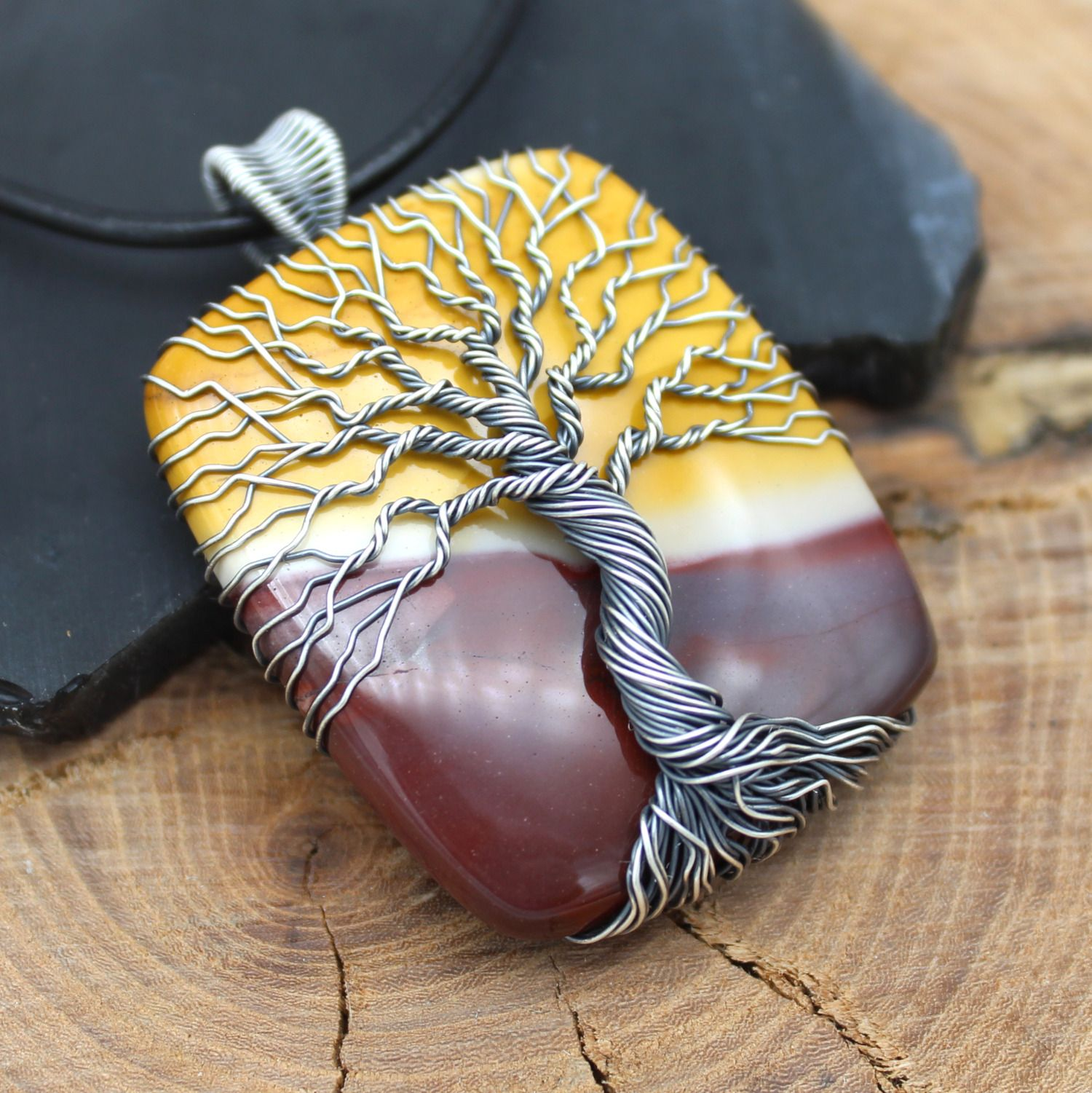 Natural Gemstone Wire Wrapped Stone Tree of Life Red Mookaite Pendant
