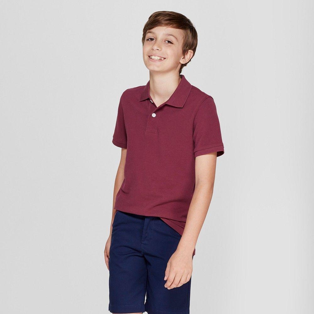cb4bafdda Boys' Short Sleeve Pique Uniform Polo Shirt - Cat & Jack Burgundy (Red) S