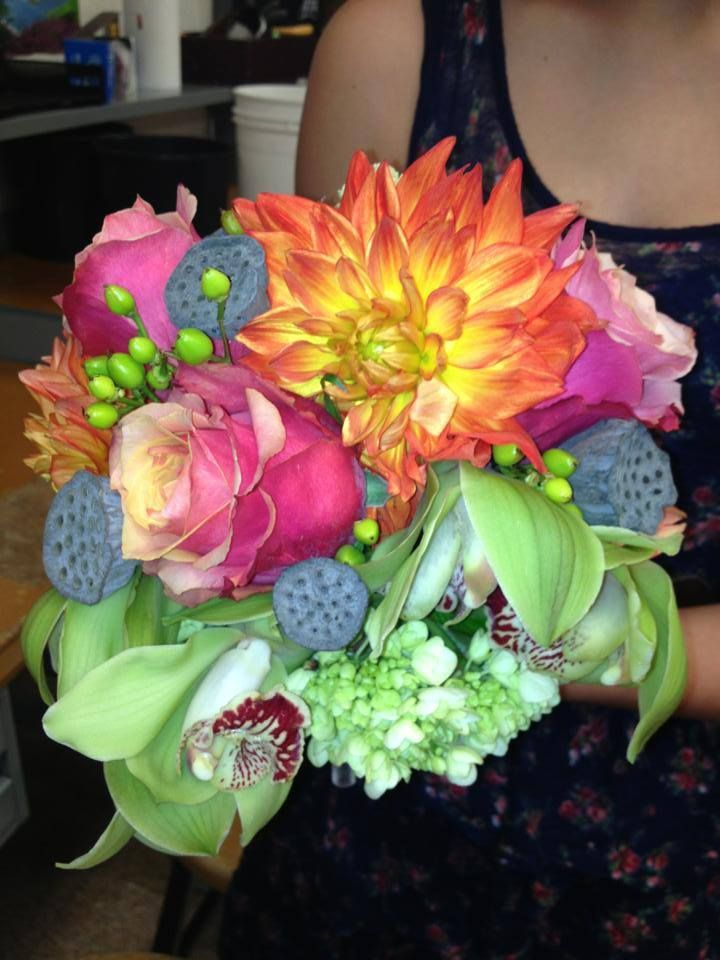 Early September Wedding Bouquet Colors Of The Are Tangerine Lime And Chocolate