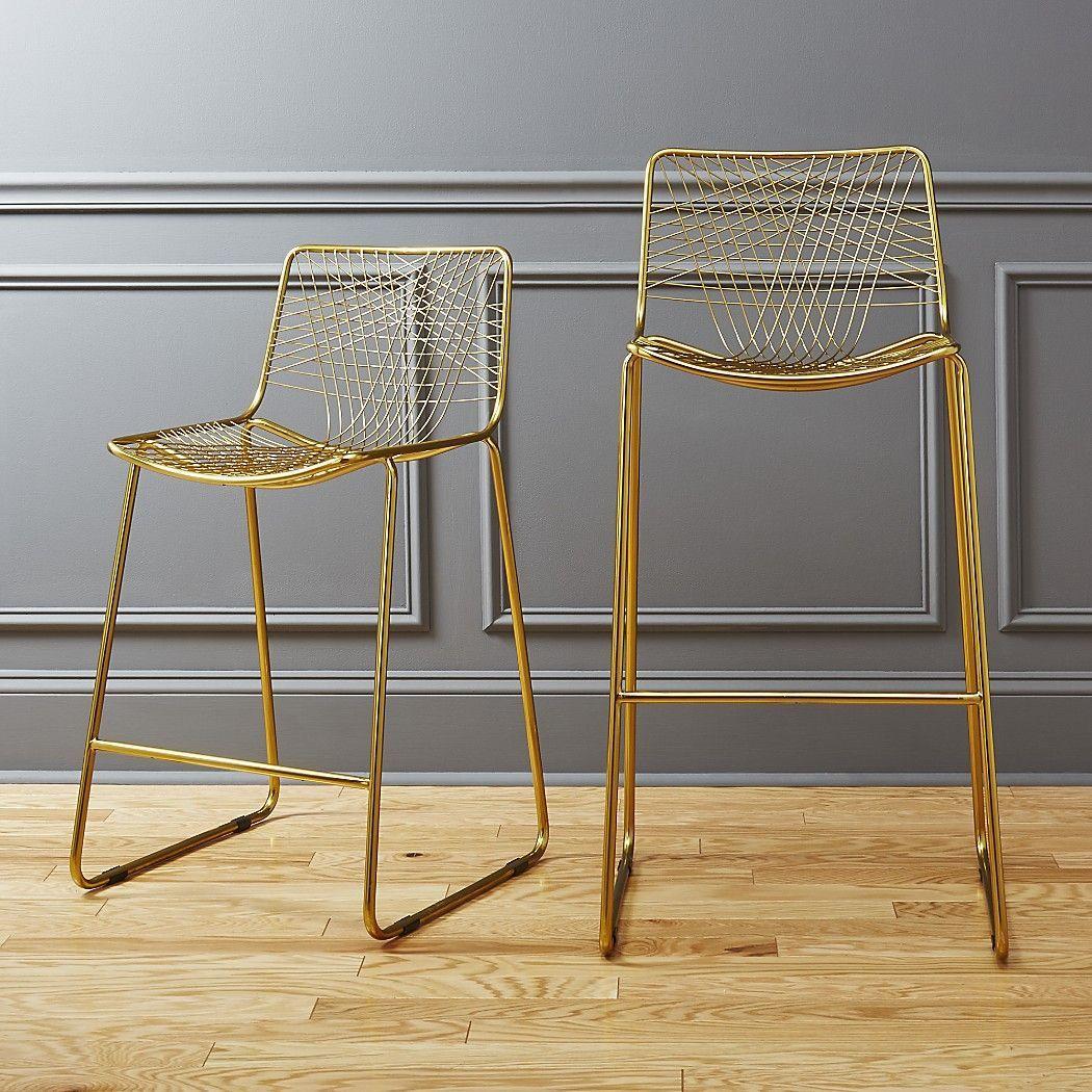 Shop alpha brass bar stools. Warm brass lacquers a handmade iron ...