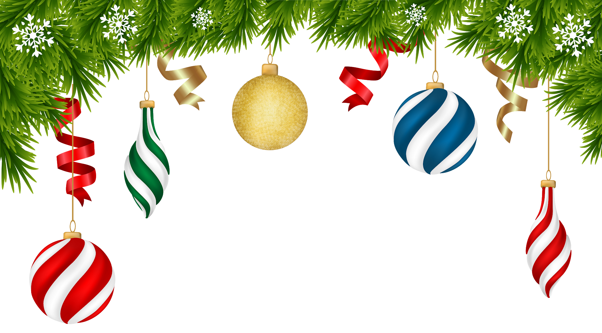 Transparent Gold Christmas Ball with Pine Clipart