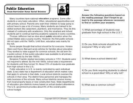 Public Education 4th Grade Reading Comprehension Worksheet Reading  Comprehension Worksheets, Reading Comprehension, Comprehension Worksheets