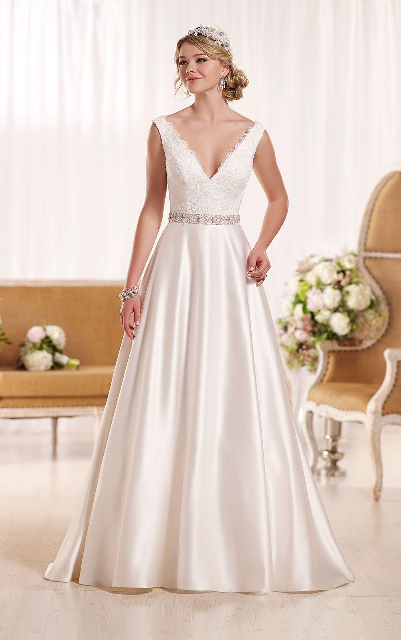A Line Sleeveless Lace Bodice Ivory Satin V Neck Wedding Dress