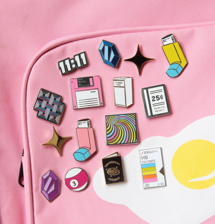 Cute pink lapel enamel pins | Enamel Pin || Embroidered
