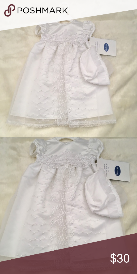 75287bae7 Madonna Christening Gown New with tags Madonna christening gown and bonnet  size 0-3 months Madonna Dresses Formal