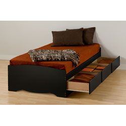 black twin xl mates platform storage bed with 3 drawers by prepac - Twin Bed Frame With Drawers