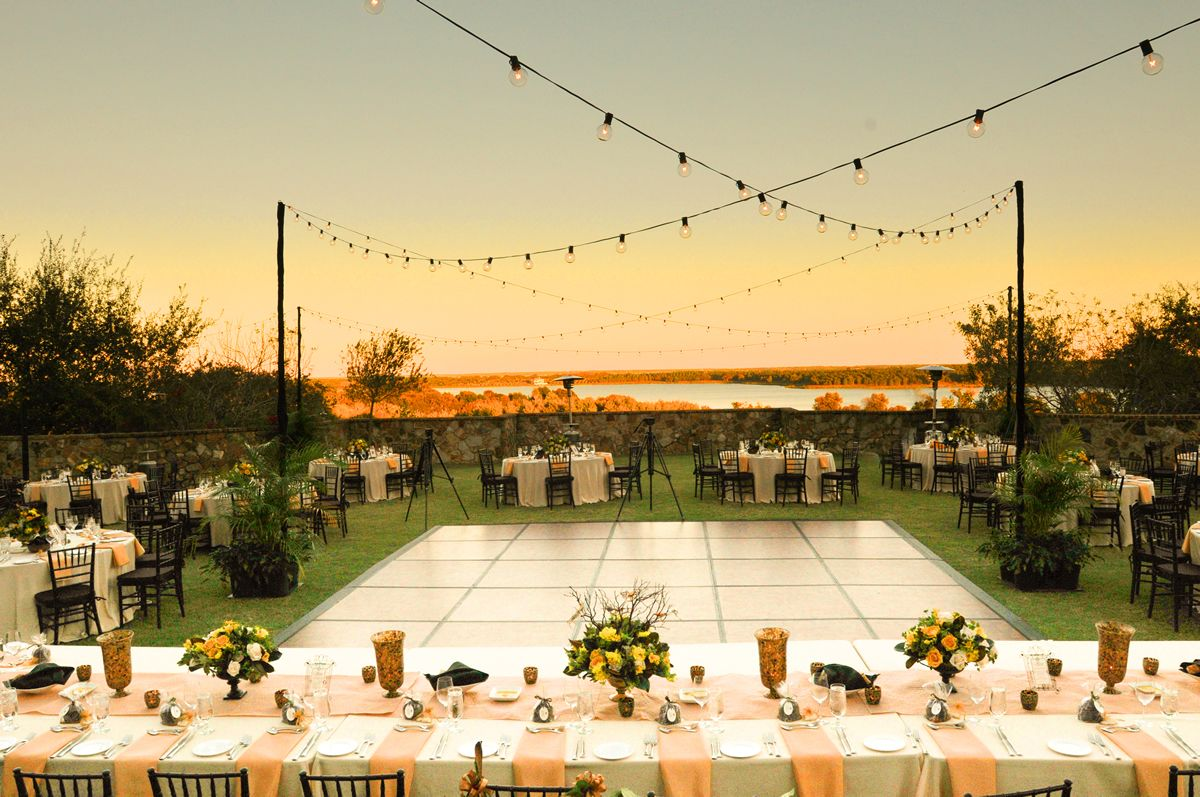 Love this outdoor set up especially the dance floor and lights