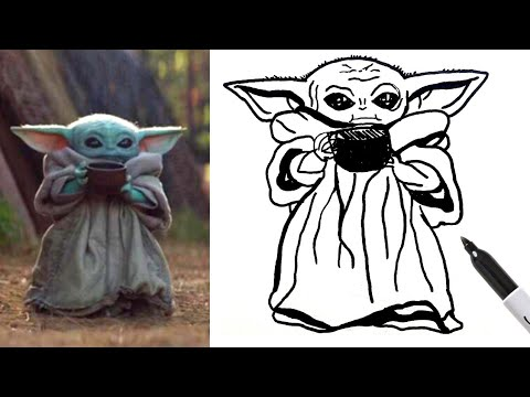 1 Baby Yoda Sipping Soup How To Draw Easy Step By Step