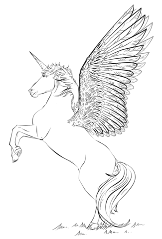 Unicorn with wings Coloring page | Coloring pages | Pinterest ...
