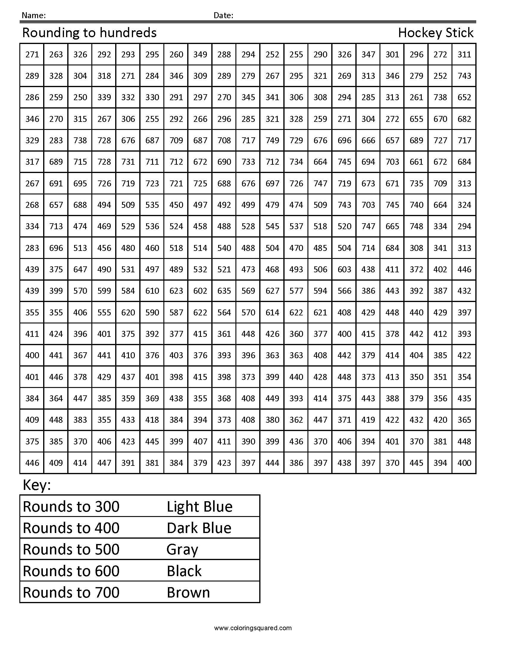 Rounding to Hundreds- Hockey Stick | Worksheets and Math