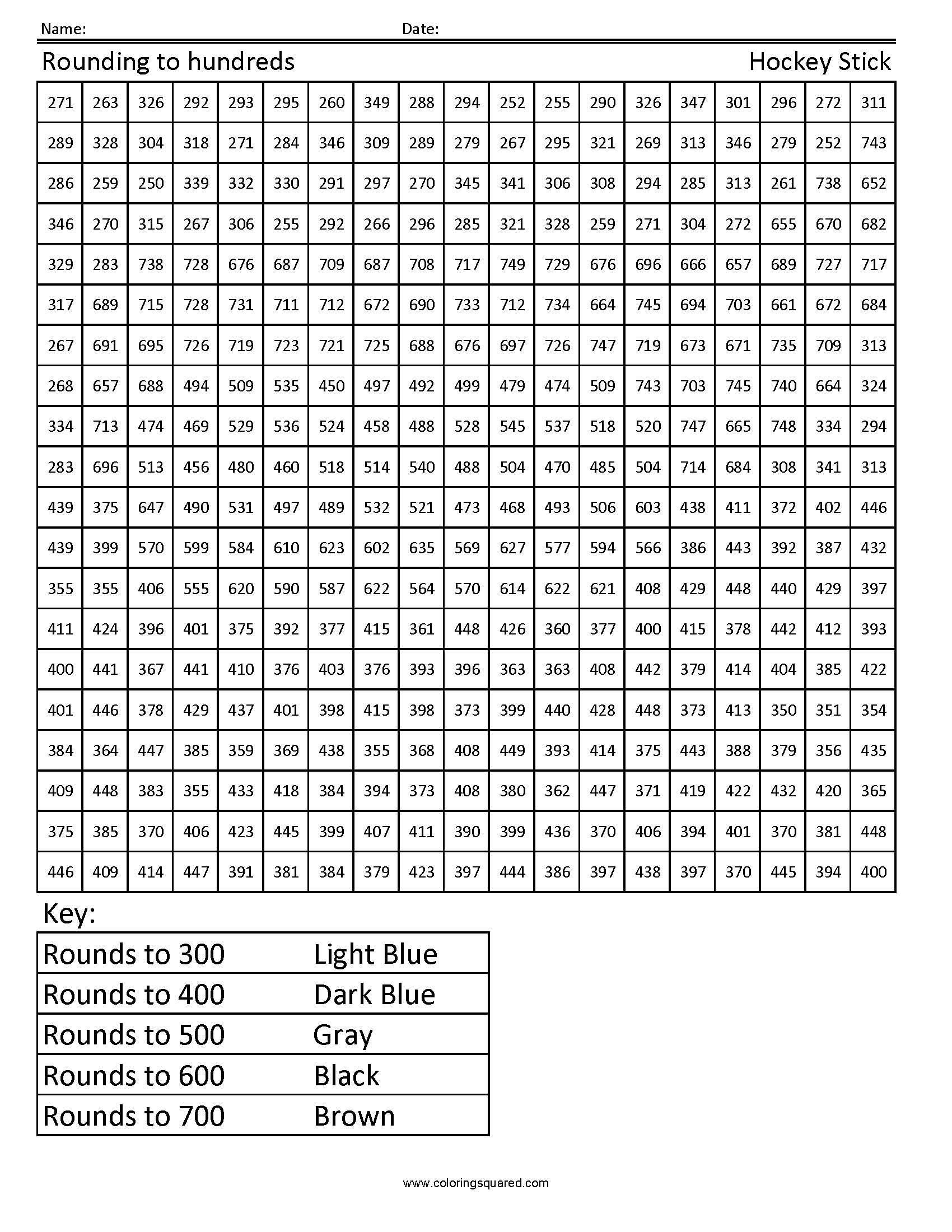 Rounding to Hundreds Hockey Stick Worksheet