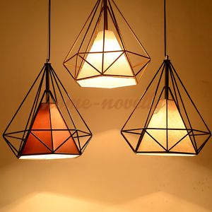 Retro E27 Metal Fabric 3d Geometric Room Ceiling Light Pendant