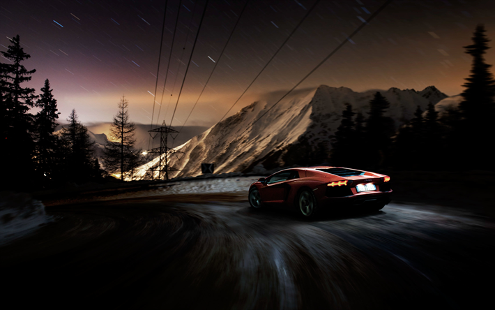Download wallpapers 4k, Lamborghini Aventador LP700-4, road, 2018 cars, motion blur, supercars, red Aventador, Lamborghini besthqwallpapers.com