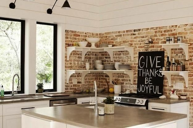 25 Modern Kitchens And Interior Brick Wall Design Ideas Modern Kitchen Interiors Brick Wall Kitchen Kitchens Without Upper Cabinets