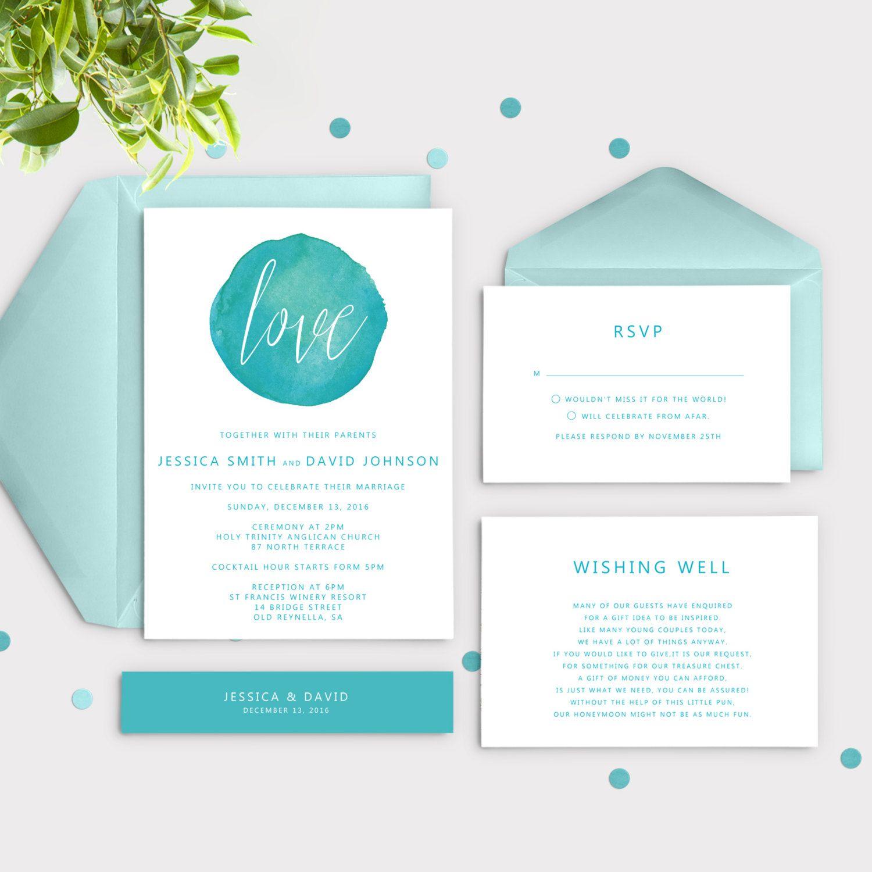 Turquoise Wedding Invitations Kits Watercolor Invitation