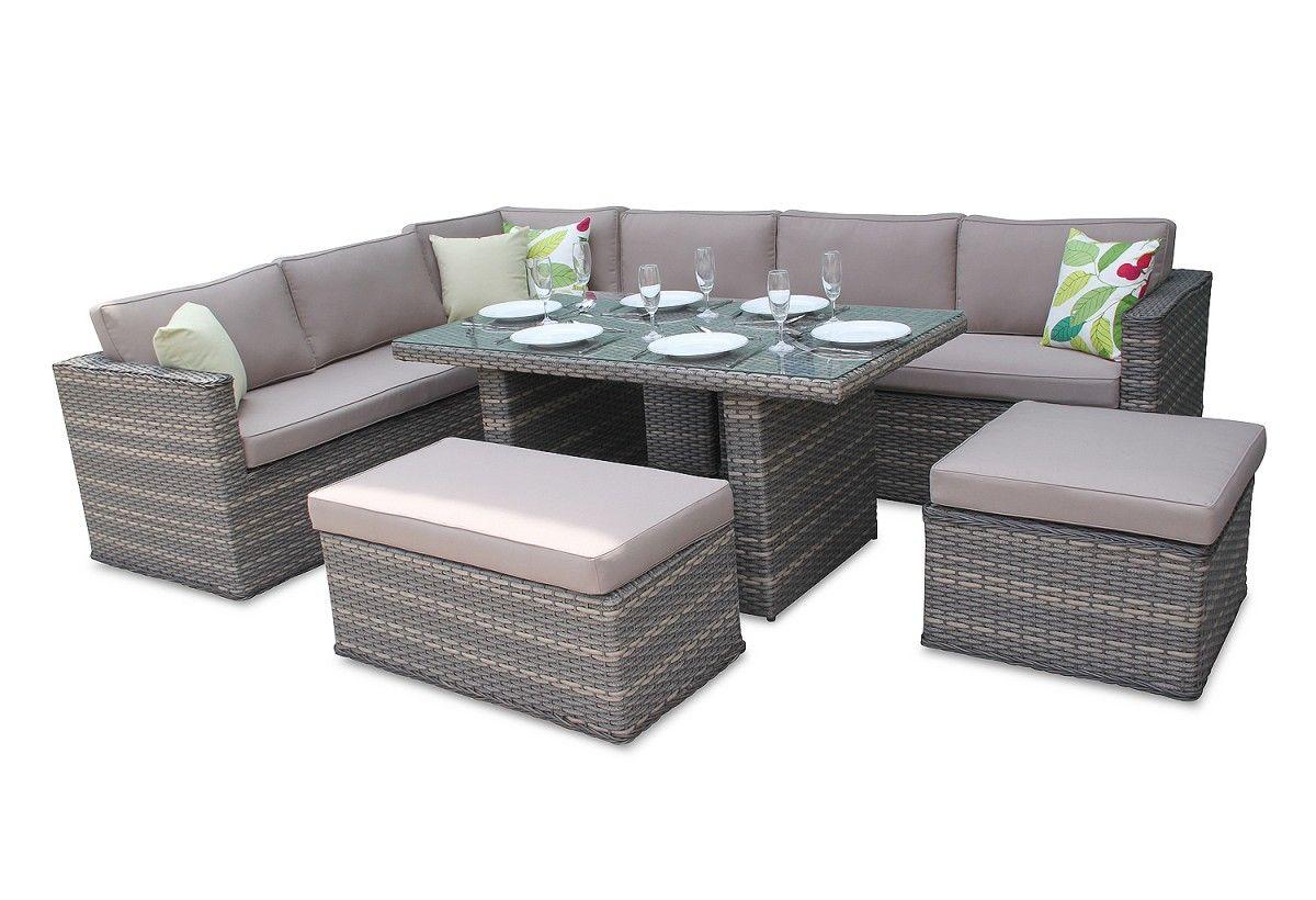 Brantwood Rattan Corner Sofa Dining Furniture Set - Natural ...