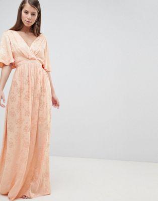 ASOS DESIGN Maternity Soft Jacquard Maxi Dress With Flutter Sleeve