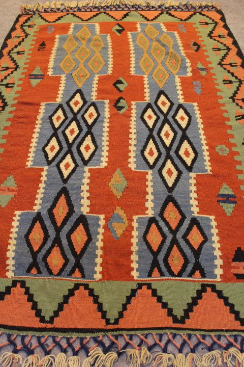 Kilim Rug Turkish Vintage Handmade Decorative Wool Red Blue Anatolian Hand Knotted Home Decor Floor
