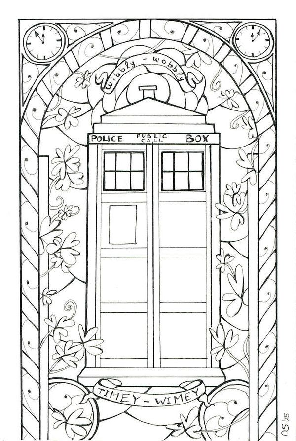 Stained Glass: Tardis (Outlines) by Scarlett-Winter | Lineart ...