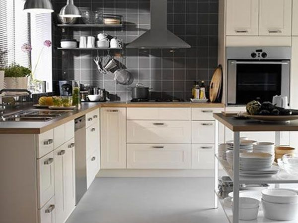 Kitchen Tiles Cream grey tiles, cream cupboards, wood worktop | kitchen | pinterest