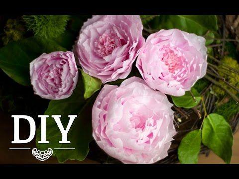 DIY Hübsche Pfingstrosen aus Krepp Papier Deko Kitchen - rose aus stein deko