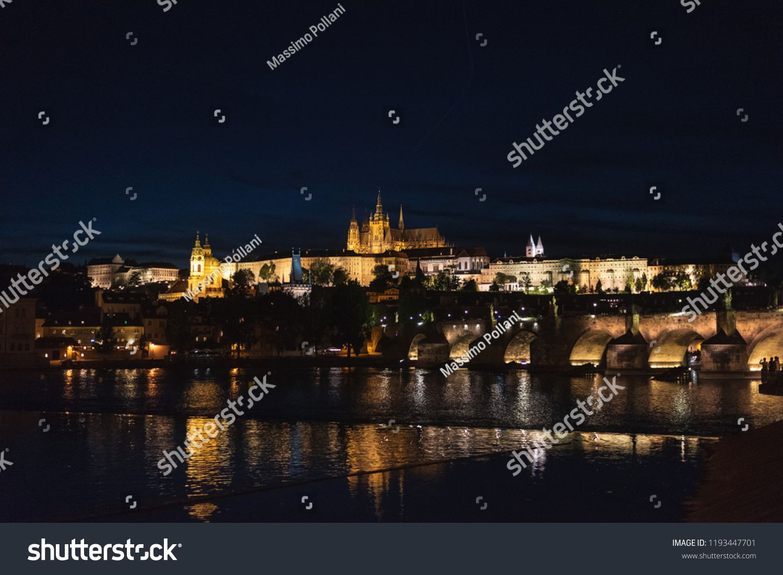 Night Panoramic View Of Prague Castle St Vitus Cathedral And Charles Bridge In Prague Prague Castle Panoramic Views Castle