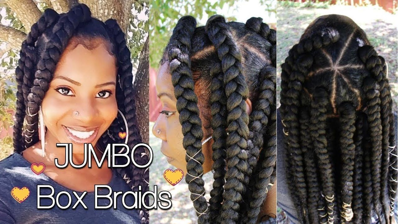 How To Do Short Chunky Jumbo Box Braid Twist On Natural Hair By Yourself Youtube Box Braids Styling Short Box Braids Natural Hair Styles