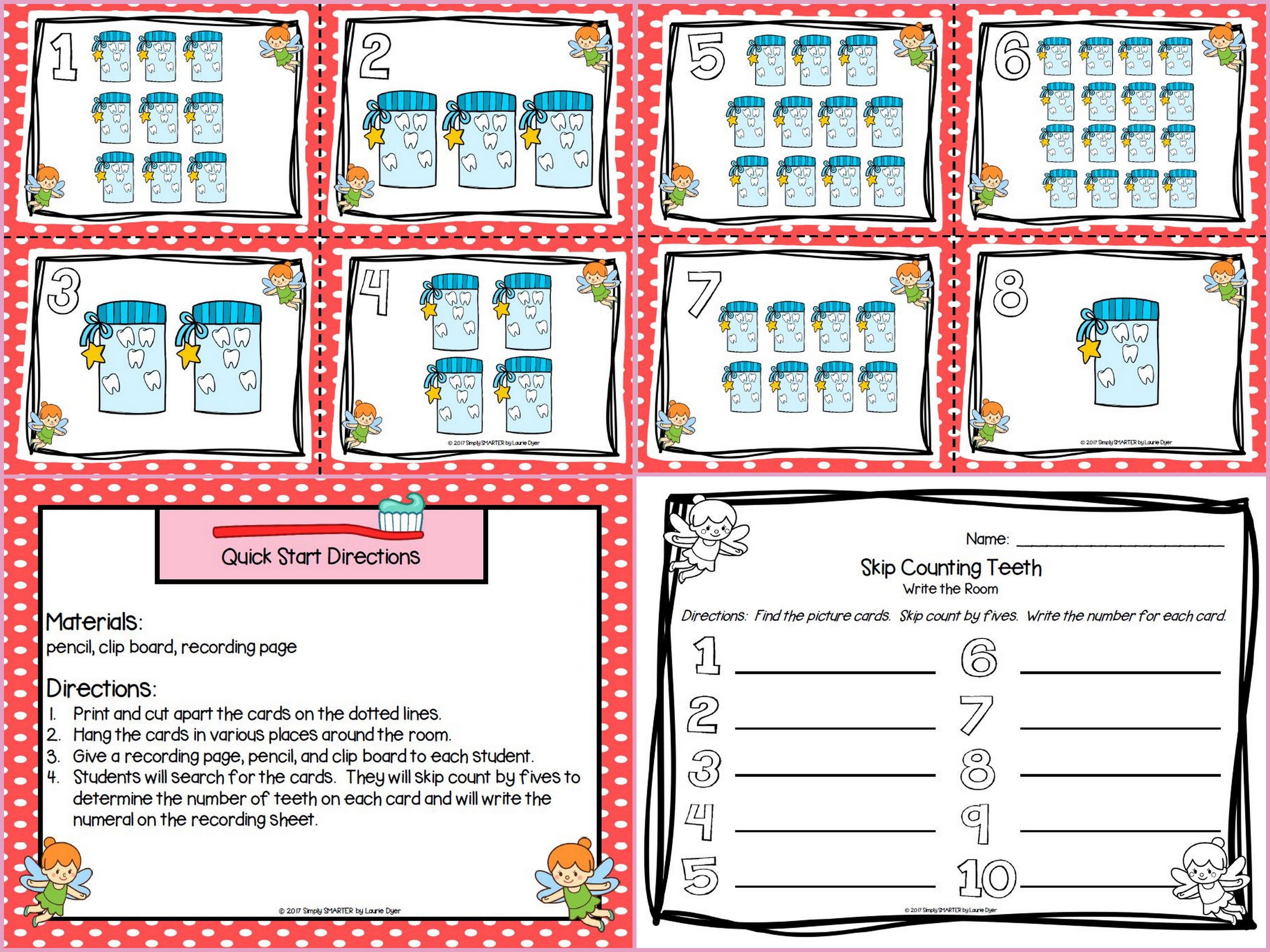 Are you looking for a LOW PREP math activity for preschool, kindergarten, or first grade? Then download this product and go!  Enjoy this number resource which is comprised of a color version of a DENTAL HEALTH themed SKIP COUNTING write the room activity.  Children will skip count by fives and record the number while hunting for the ten cards around the room.  ALL YOU NEED TO DO IS PRINT AND PLACE THE CARDS AROUND THE ROOM AND PROVIDE A PENCIL, CLIP BOARD, AND RECORDING PAGE.