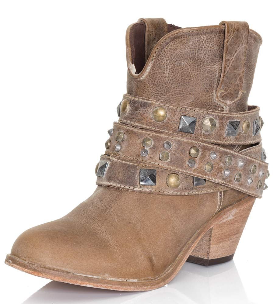 Corral Womens Studded Strap Ankle Cowboy Boots - Taupe | Summer ...