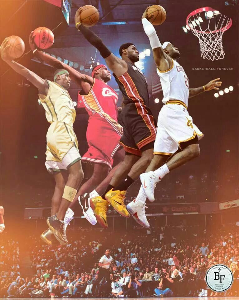 c3fb908c4e4d Lebron James dunking through the stages of his basketball career.  lebron- james  basketball Love this image of King James.