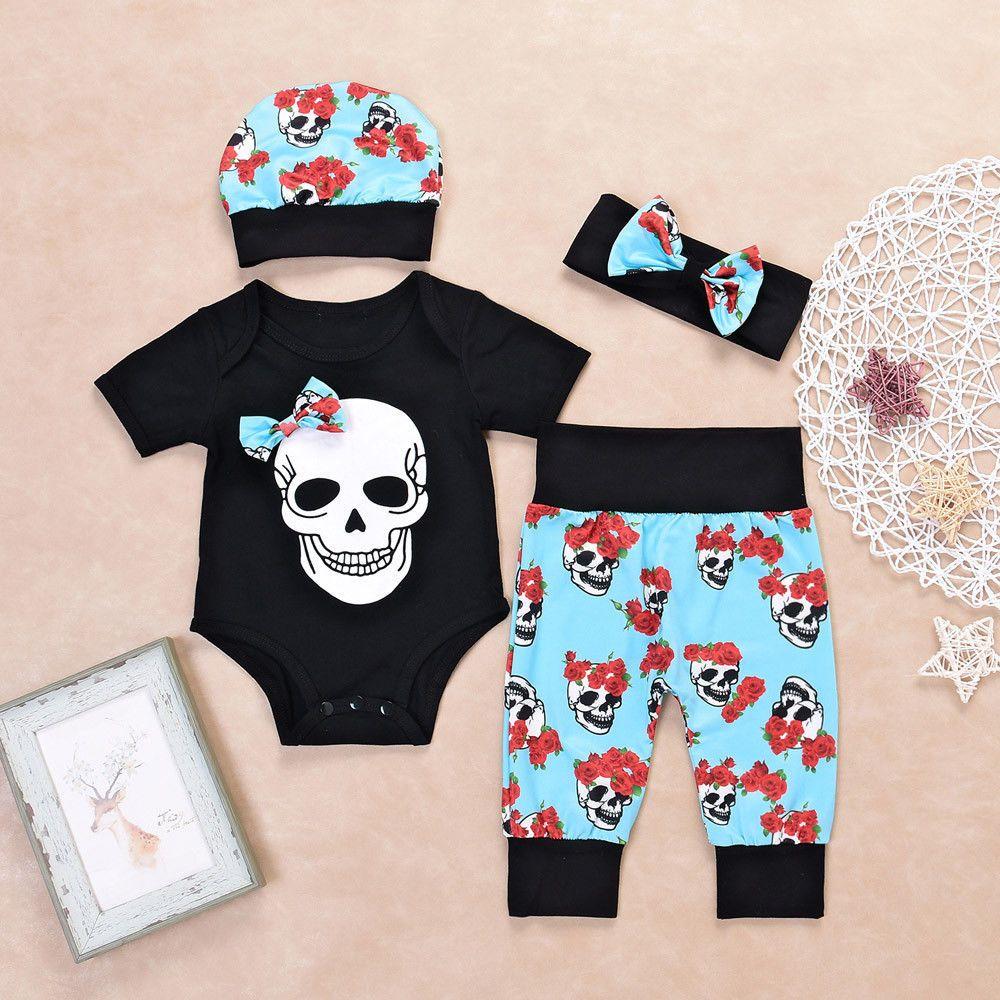 2f226d5ff Newborn Baby Boys Girls Flower Skull Romper Jumpsuit Pants 4Pcs Set ...