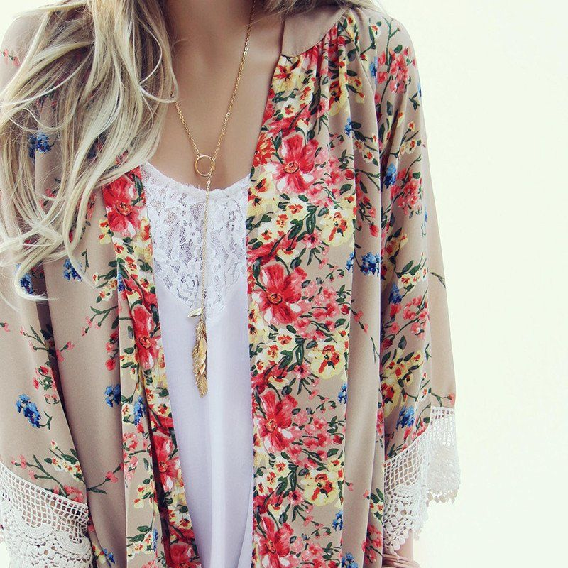 Tan Chiffon Vintage Floral Kimono with Lace | summer outfits ...