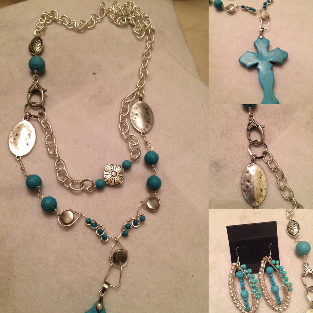 Boho Chic Turquoise and Silver. Extra long chain with Large Turquoise Cross. $75. PayPal Can deliver in Memphis area.