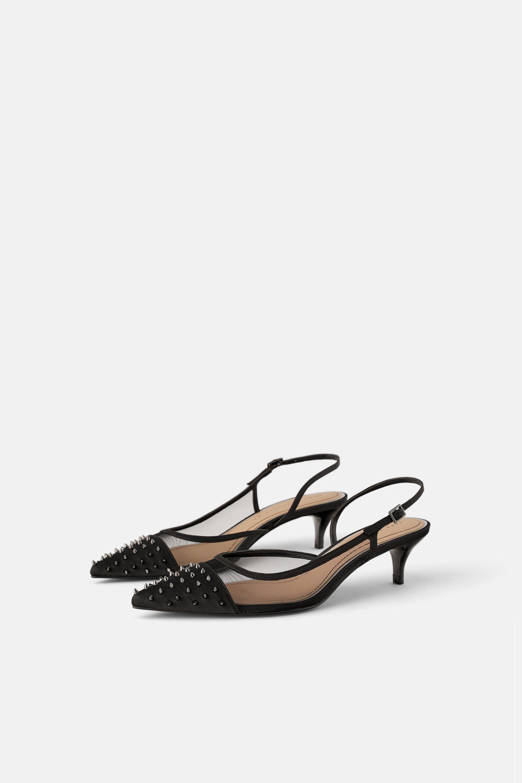 Image 3 Of Studded Mesh Kitten Heel Slingback Shoes From Zara Heels Slingback Heel Black Slingback Heels