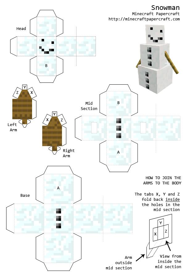Minecraft Papercraft Snowman Minecraft For Patterns In 2018