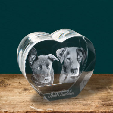 3D Crystal Heart Anniversary gift for her, 3d crystal