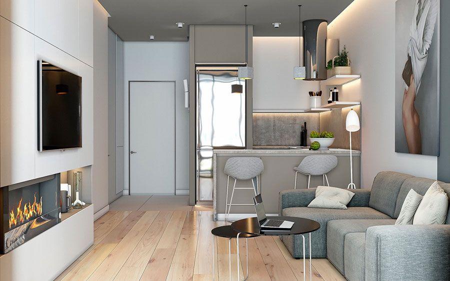 Ed arredare un soggiorno con angolo cottura di 20 mq e 30 mq,. Come Arredare Un Open Space Di 20 30 Mq Mondodesign It Small Living Rooms Comfy Living Room Design Small Apartment Design
