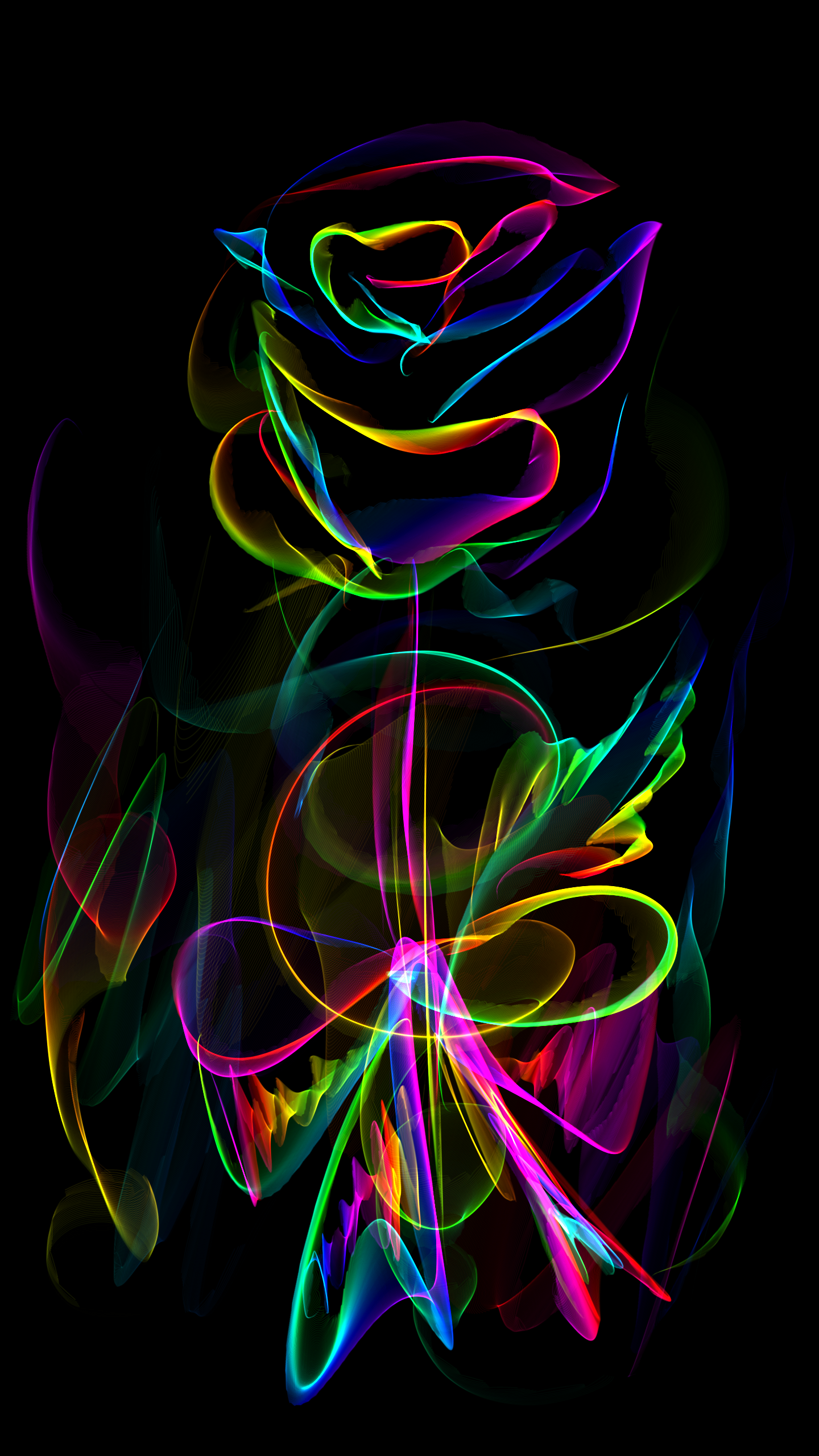 Roses Rainbow Gift Bouquet Flower Art Leafes Drawing Black Neon Android Wallpaper Android Wallpaper Black Neon Wallpaper