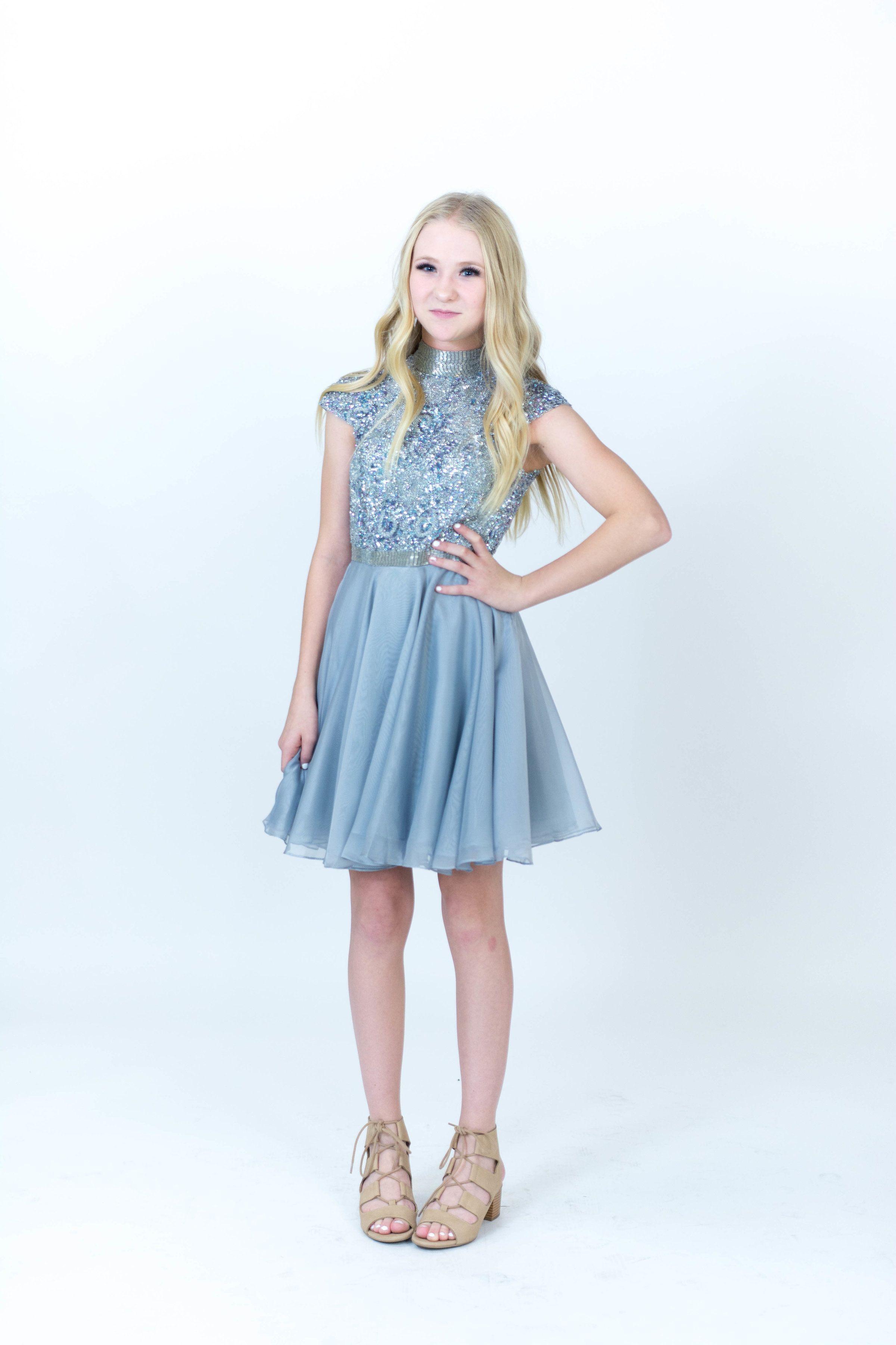 71e90bc700bf Sherri Hill Silver Short Dress Flowy Chiffon Skirt with cap sleeves and  high neckline Ypsilon Dresses