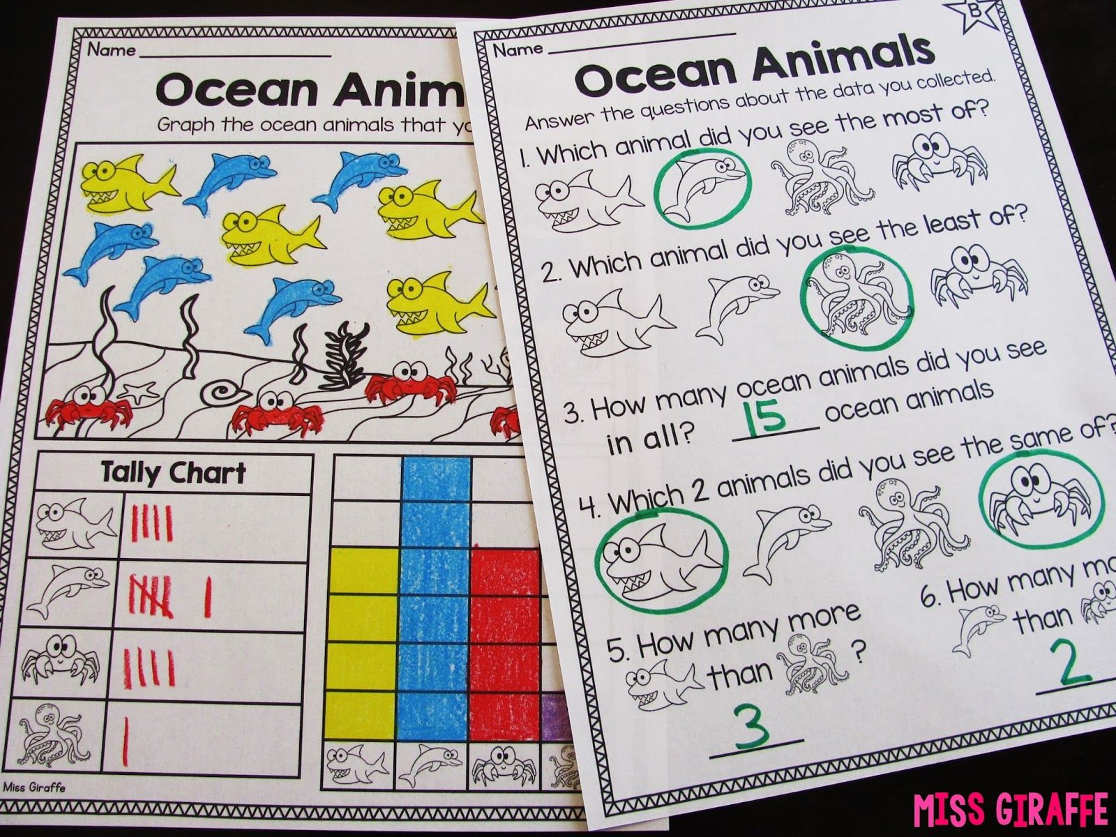 worksheet Graphing Of Data Worksheet Answers oceanbargraphsworksheetlevelbh jpg mathematics graphing and data analysis in first grade can seem daunting but it is actually a really fun math concept because so