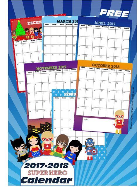 Free 2017-2018 Girl Superheroes Printable Calendar Printable