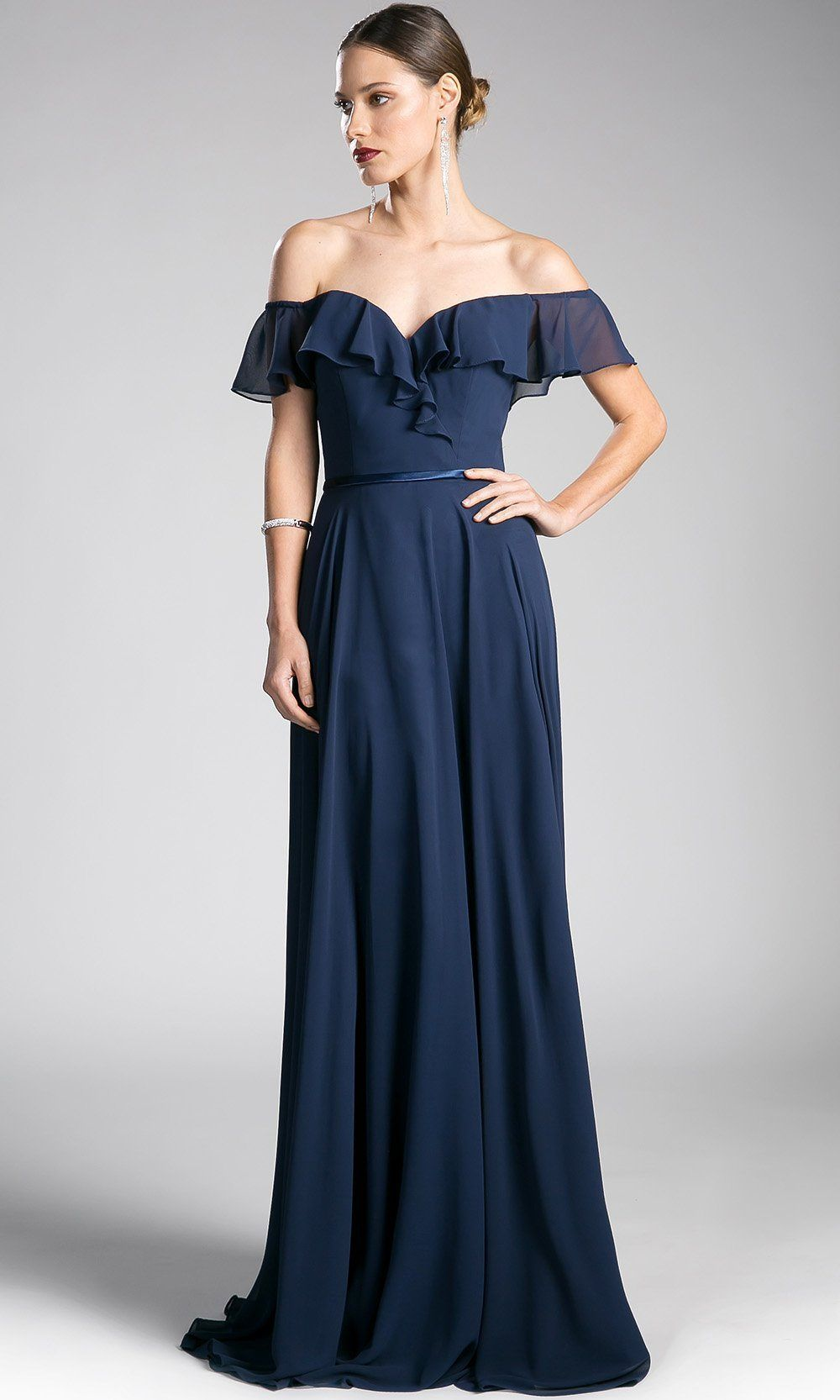68251ab2ac1 long navy blue off shoulder flowy dress. Perfect dark blue gown for  bridesmaids