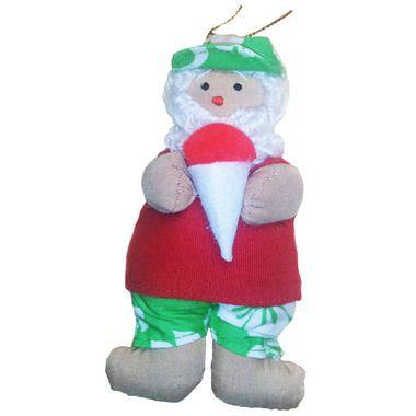 Hawaiian Style Christmas Ornament Fabric Santa With Shaved ...