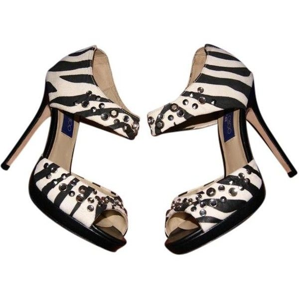 Pre owned jimmy choo new x hm bonnie zebra print black and white 230 ❤ liked on polyvore featuring shoes pumps zebra print black and white