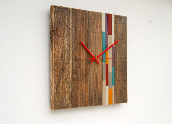 Reclaimed Wood Wall Clock Modern Wood Clock With Art Accent Barn Wood Style Wood Wall Clock Diy Clock Wall Wood Clocks