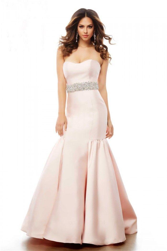 Mermaid Strapless Pearl Pink Satin Beaded Evening Prom Dress ...
